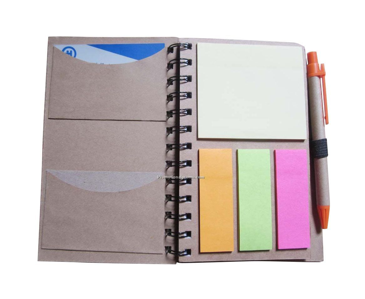 LARGE RECYCLED PAPER NOTEBOOK W/STICKY NOTES