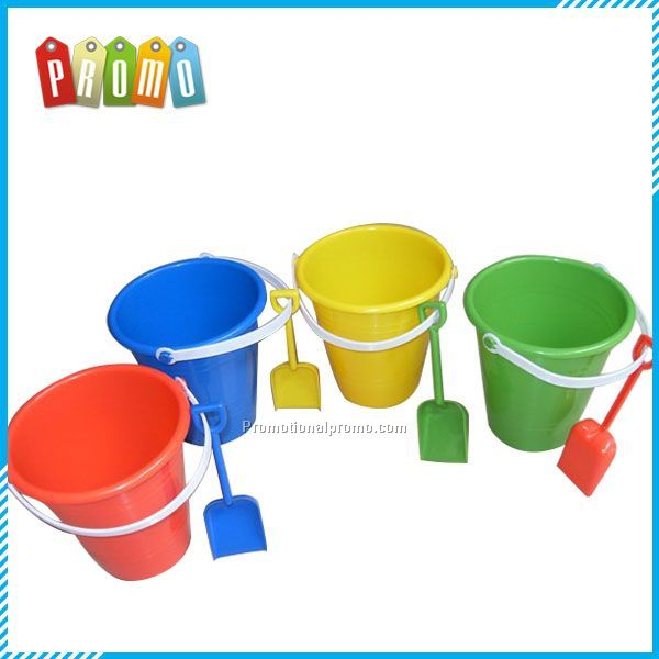 Colorful Plastic Beach bucket with Shovel