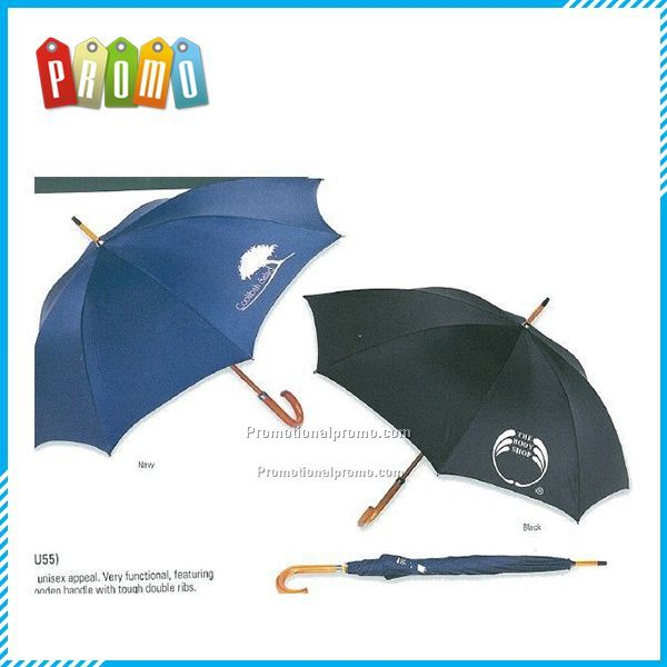 Imprinted Wooden handle straight Umbrella