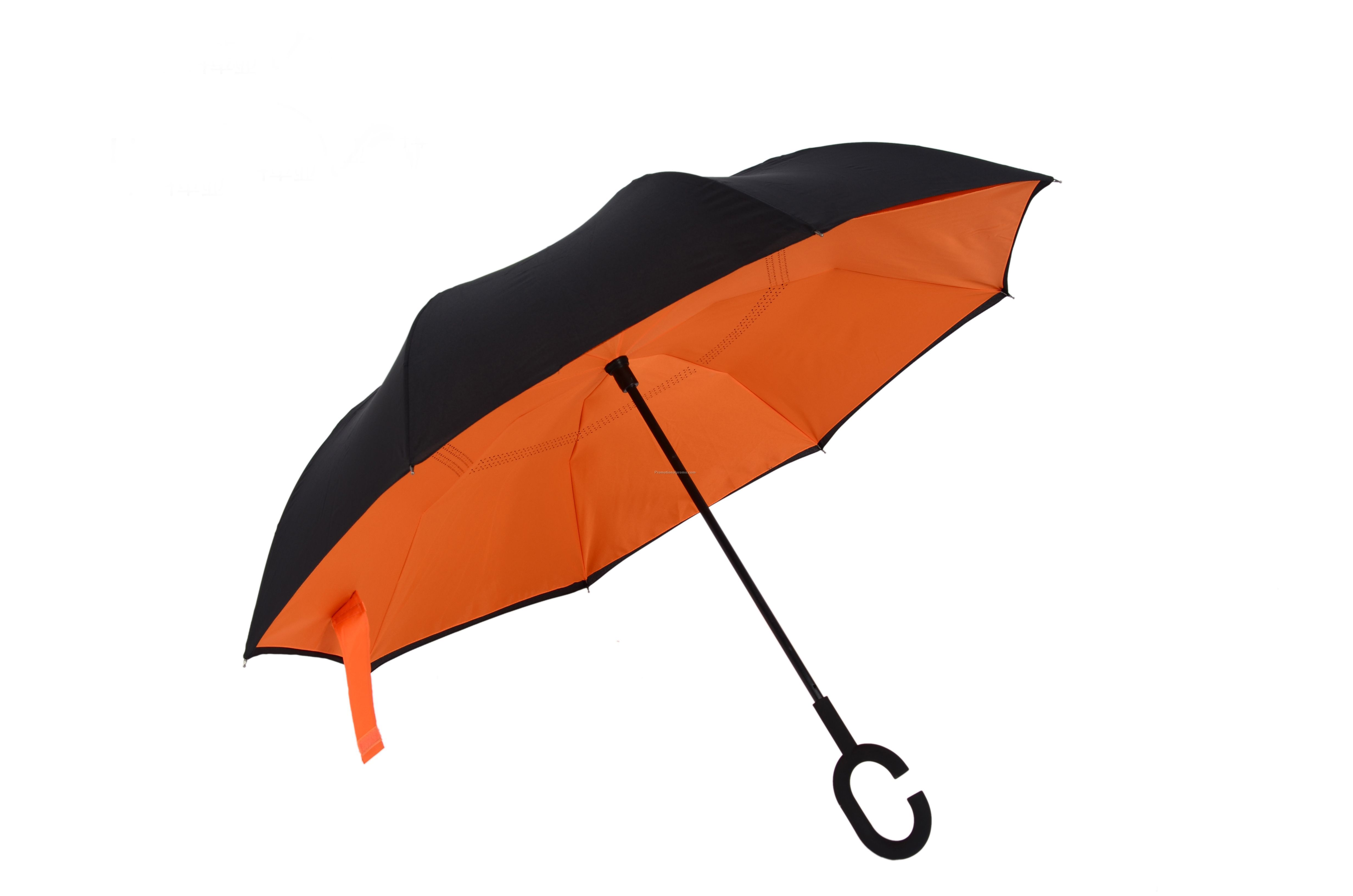 Windproof Reverse Folding Double Layer Inverted Umbrella With C-Hook Hand