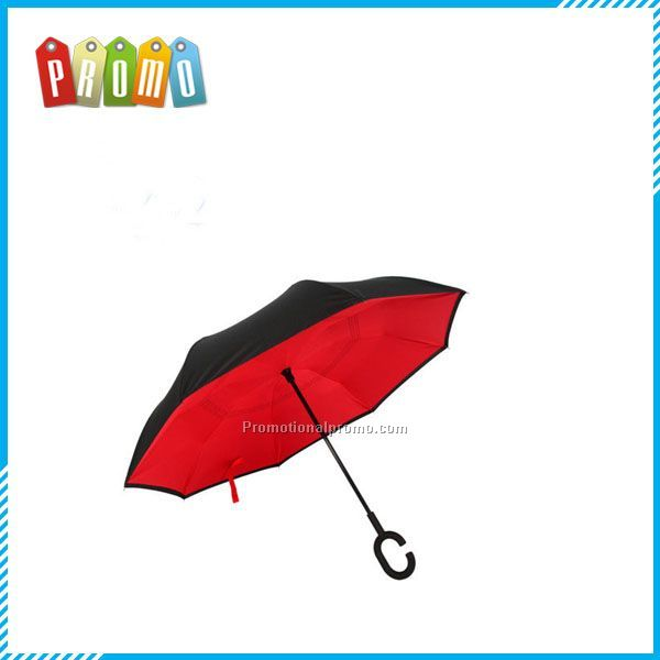 Cheap high quality wholesale custom print double layer upside down folding reverse inverted umbrella