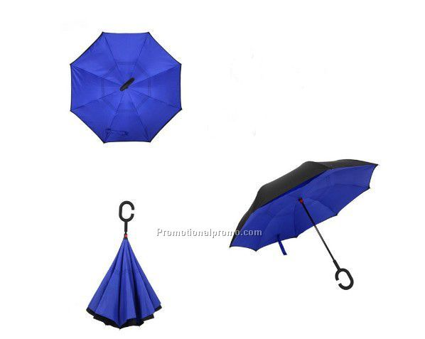 New Style Double layer customized print reverse inverted umbrella with C shape Handle