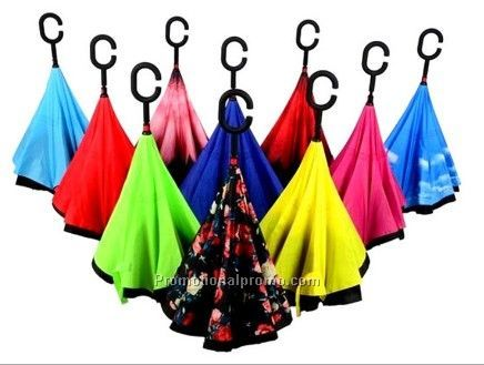 Windproof promotion reverse umbrella with c handle Inverted Umbrella