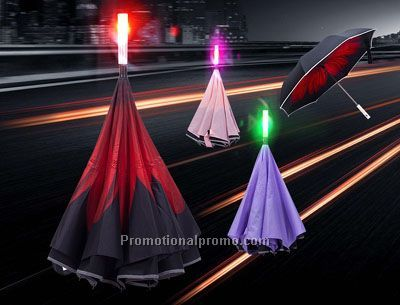 SOS Singal Light Inverted Umbrella with LED Light Handle and Reflective Tape , Reverse Car Umbrella Windproof