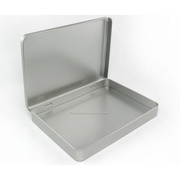 Rectangle A5 Size Hinged Tin Box Rectangle Muji Silver Plain Tin Container