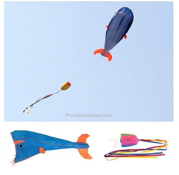 3D Huge Soft Parafoil Giant Dolphin Blue Kite + 30M Handle Line Outdoor Sport Toy