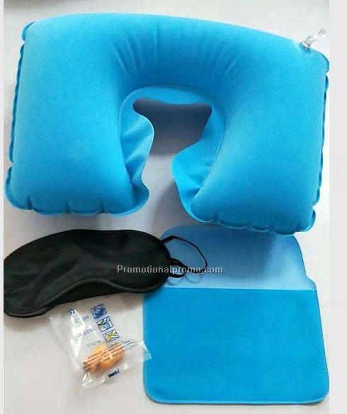 Inflatable travel pillow set