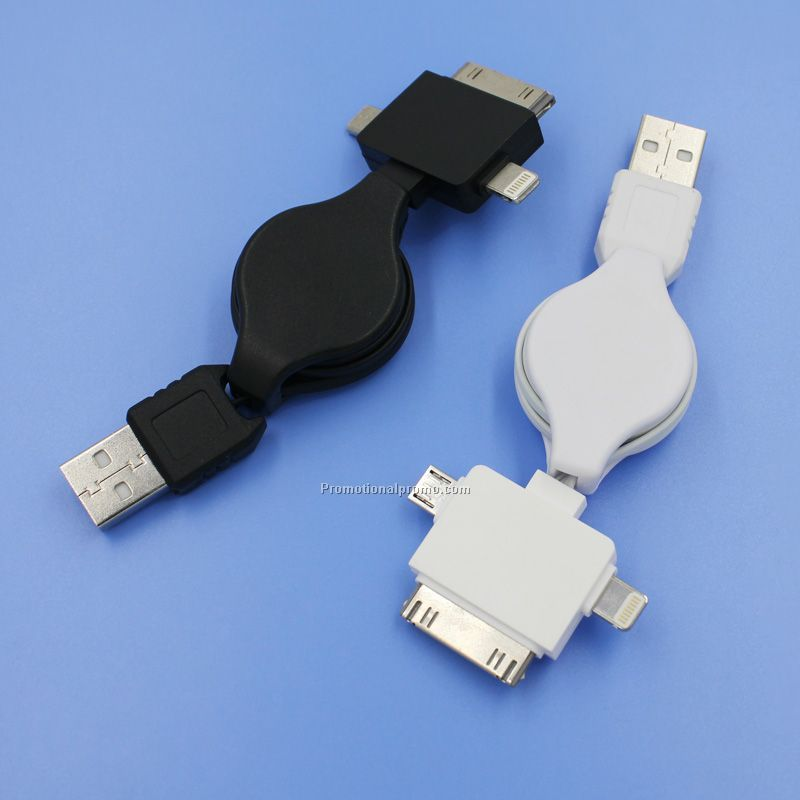 3-in-1 mobile phone USB Retarctable Charging cable