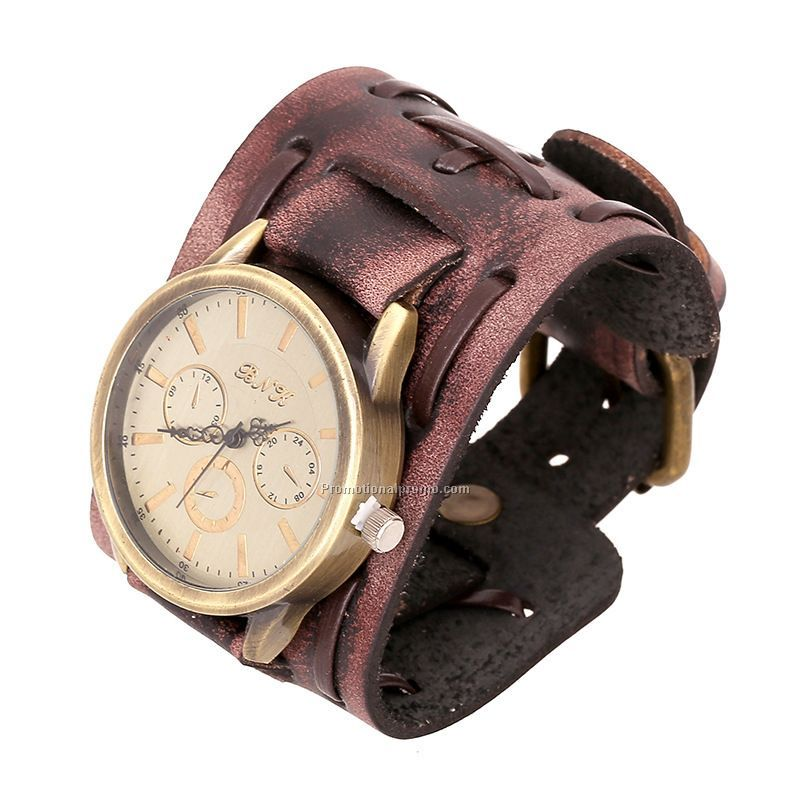 New arrival genuine leather wrast watch for men