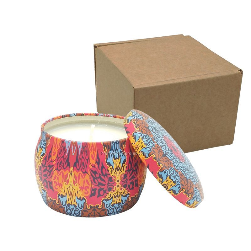 Custom soy scented candle with colorful desgin tin box