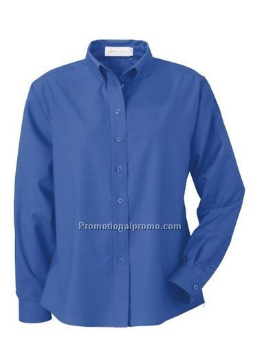 LADIES' WRINKLE RESISTANT LONG SLEEVE BUTTON-DOWN OXFORD SHIRT ...