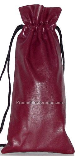 Drawstring Wine Pouch / Stone Wash Cowhide /Red