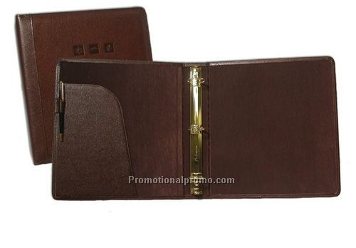 "Sterling Leather Executive Binder - 3"" Capacity Round-Ring - Flap Pocket"