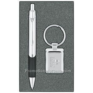 Key Tag/Metallic Ballpoint Pen Gift Set