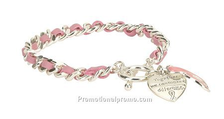 Together We Can Make A Difference Pink Ribbon Bracelet
