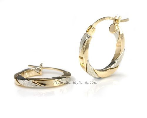 14k classic yellow gold hoop earrings with a twist china for Wholesale 14k gold jewelry distributors